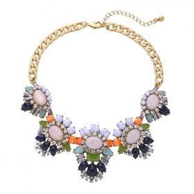 Vintage Cooper Colorful Rhinestone Statement Necklace.  Add a pop of colour to your outfit.  This gold layered neckpiece includes diamanté crystals, shades of orange, grey and navy stones that will compliment and add a bit of spice to any top, dress or shirt. Size: vertical length 22cm with 9cm extension.