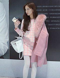 Feminino Saia Suits Informal / Casual estilo antigo / Simples Outono / Inverno,Houndstooth Rosa Lã / Poliéster Decote Redondo Manga Longa