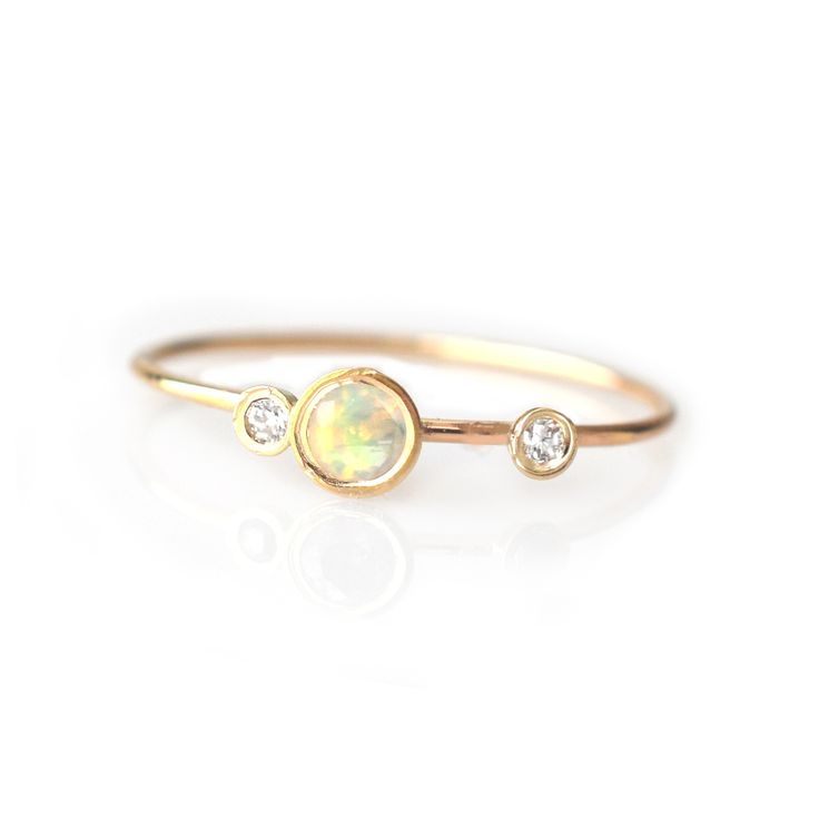14kt gold opal and diamond adele ring anillos beb y joya for Nancy b fine jewelry