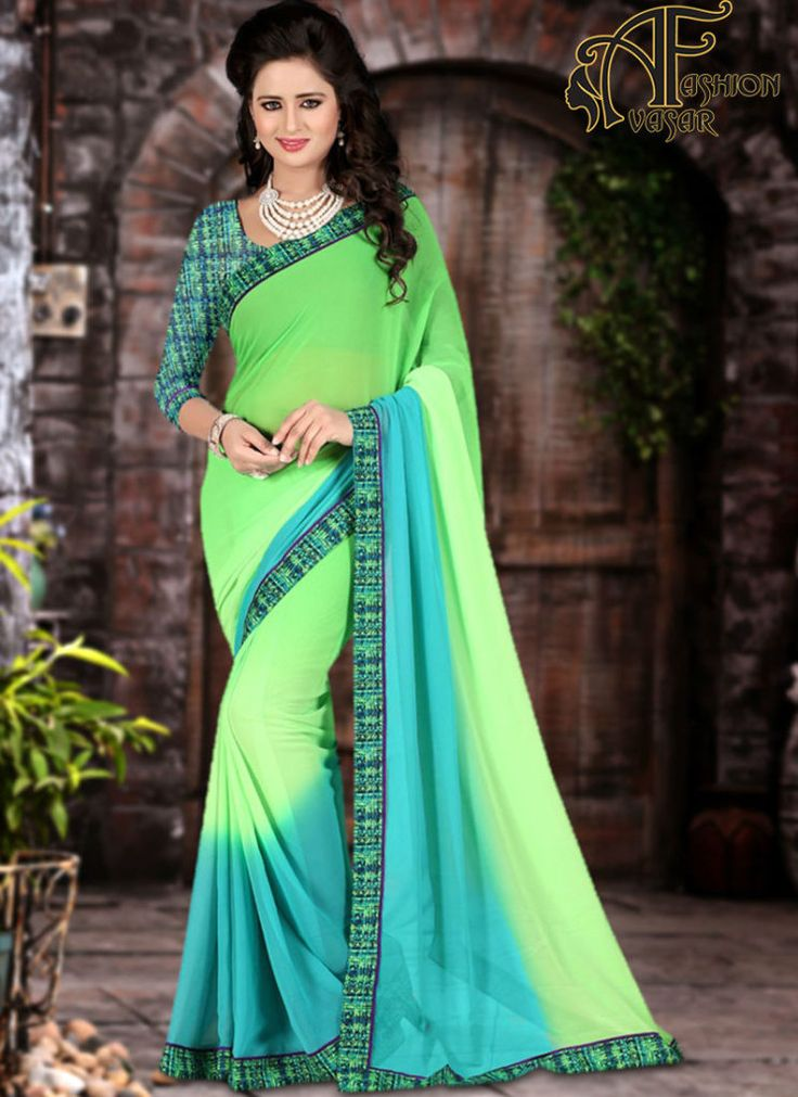 Green Casual Georgette Simple Sarees