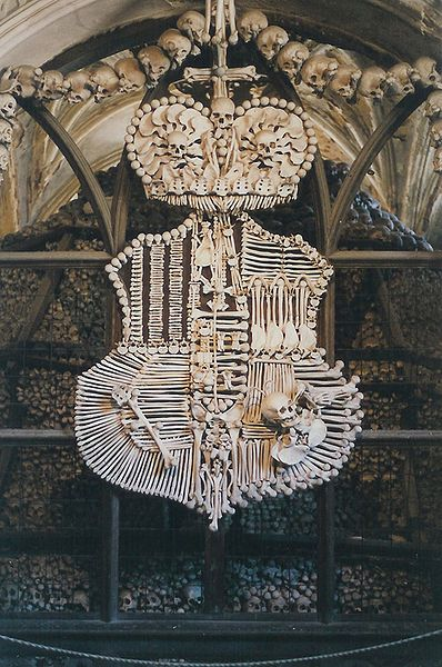 A coat of arms made entirely of bones