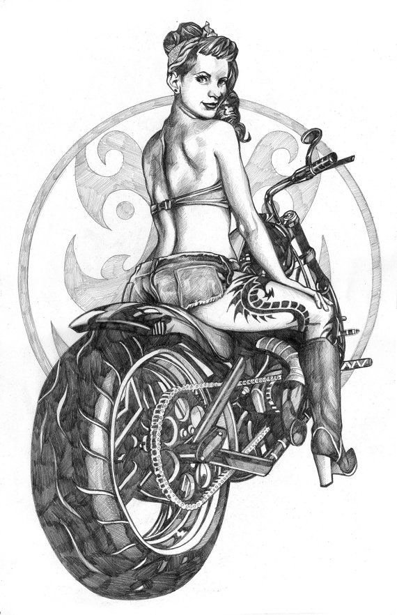 Retro Motorcycle Pinup Girl Original Drawing by BrentSchreiber, $84.75
