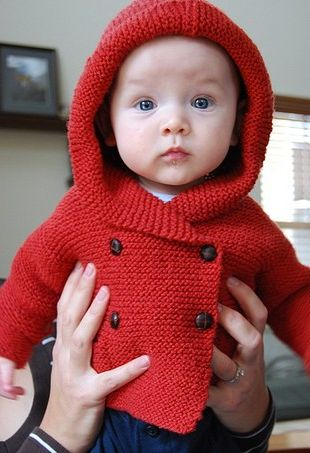 Little knitted hooded double breasted cardigan for baby