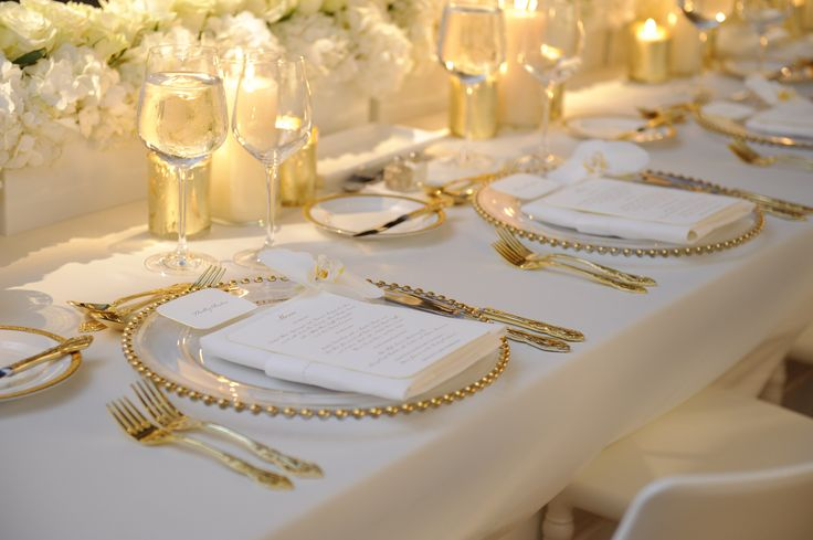 Plate Liner Gold/Glass Bead, Regal Gold Flatware, Dolce Crystal Glassware, White Hemstitch Napkin   Chair-man Mills