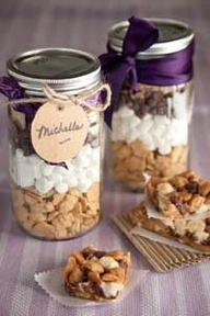 Paula Deen Simple Smores Bars:  Layer 1.5cups Teddy Grahams, 1.5 cups mini marshmallows, 1.5 cups choc. chips, .5 cup brown sugar in quart jar.  Instructions:  Spary 9 pan.  Add contents of jar with .5 cup melted butter and bake at 350 for 15 minutes.  Cool and cut into bars...Potential Wedding Favor idea!!