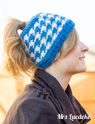 Free Knitting Pattern for Houndstooth Ponytail Hat - A Stroll in the Park is a houndstooth colorwork ponytail or messy bun hat by Mrs Luedeke
