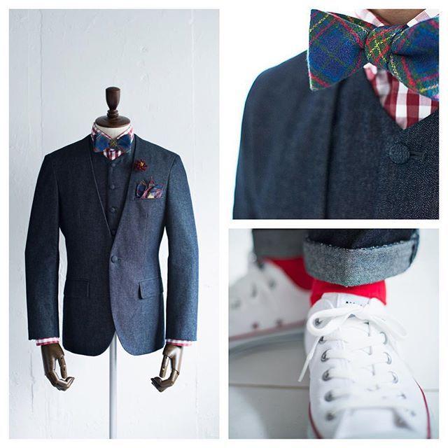 新郎衣装|デニムスーツでカジュアルスタイル : 結婚式の新郎衣装に関するお話|カジュアルウェディングまとめ