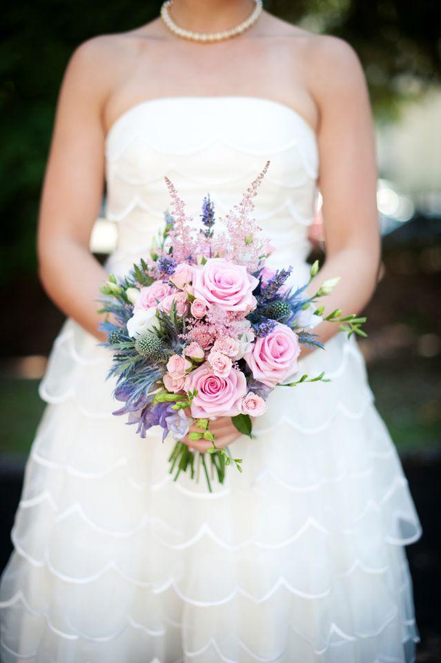 Prettiest pink and purple bridesmaids bouquet
