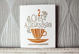 """Lähetä ystävällesi """"Olet ajatuksissani"""" - kohopainettu kortti (letterpress) - Astubutiikkiin.fi"""