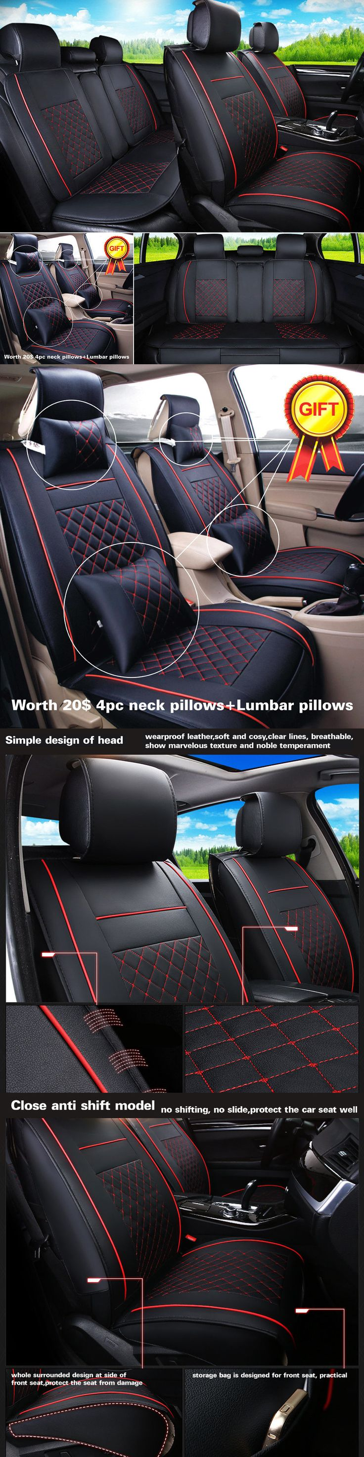 SUVs: Us Stock Pu Leather Black Red 5-Seat Car Suv L Size Seat Covers Front + Rear Set -> BUY IT NOW ONLY: $108 on eBay!
