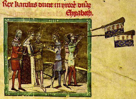 Свадьба Елизаветы и Карла Роберта.XIVв. ,С 1320г. женой Карла Роберта была Елизавета Польская (1305-1380)-дочь Владислава Локетка и Ядвиги Великопольской.У них было 5 сыновей: Карой (Карл) (1321).Ласло (Владислав;1.11.  1324-24.02.1329).Людовик I Великий (1326- 1382).Андрей Венгерский (герц. Калабрийский) (1327-1345).Иштван,герц. Славонии (1332-1354).