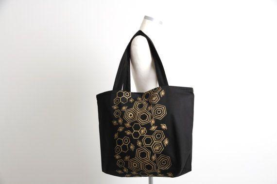 Hand Printed Bee Tote Bag