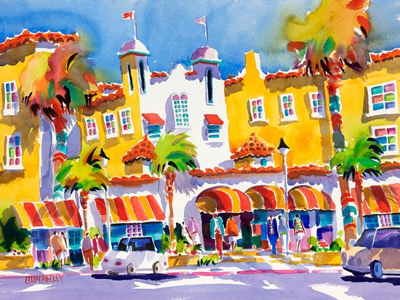 "Tropical Beach Art: ""The Colony Hotel"" 8 x 10 print by Ellen Negley featuring historic Colony Hotel in Delray Beach, Florida."