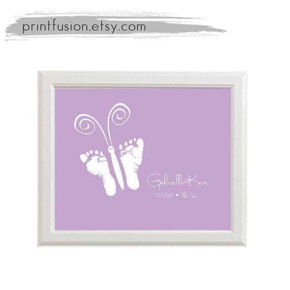 Baby Butterfly Footprint Art. Baby Footprint Art by PrintFusion, $25.00