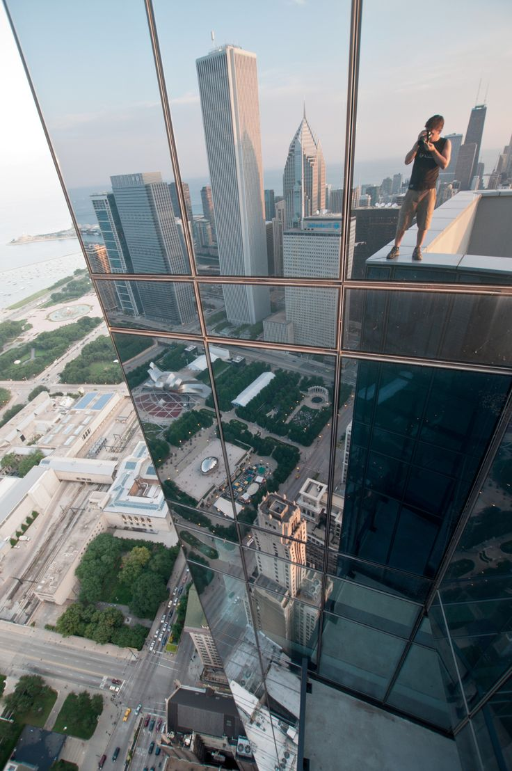 Standing atop the Legacy Tower in Chicago