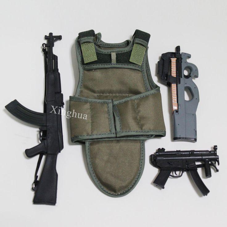 1:6Scale AK47 Assault Rifle MP5 Bullet Proof Vest FN P90 Submachine Gun SMG Set  #Unbranded