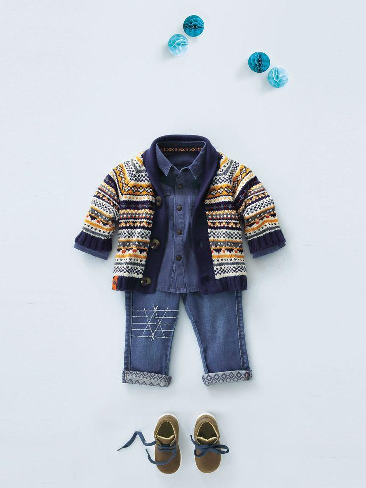 Avec son col châle, ce gilet porte à merveille le jacquard. Doublé de jersey, il est idéal par temps froid.  Collection Automne-Hiver 2016 - www.vertbaudet.fr