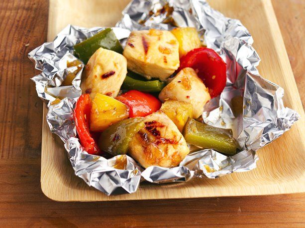 Grilled Pineapple-Chicken Kabob Packs . . . save the step of putting them on sticks? The cutting up of the veggies is the worst part . . .