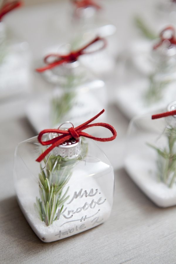 DIY Wedding // rosemary and coarse salt filled ornament seating cards that double as favors!