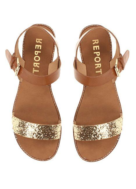Gold glitter flats.