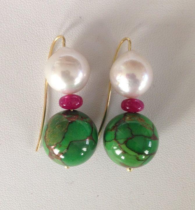 Green Iranian Turquoise Earrings di FedericaQuaglia su Etsy