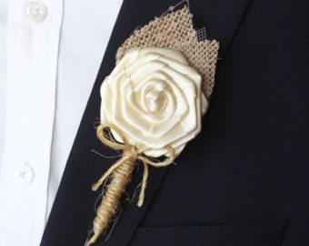 Rustic Wedding Boutonniere Burlap and Lace by AdoredOccasions