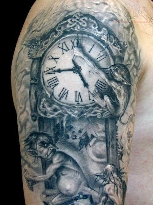 gargoyle and clock tattoo google search tattoo pinterest sleeve tattoo designs and sleeve. Black Bedroom Furniture Sets. Home Design Ideas