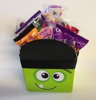 Frankie Halloween Gift Basket. This is a perfect Halloween gift for pre teens to adults.  This is filled with just candy, not coloring books or games, just a selection of candies that teens love.