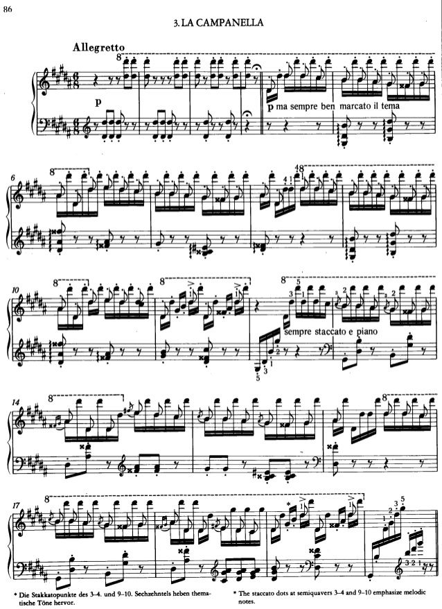 La Campanella Note Piano From Franz Liszt In 2021 Liszt Sheet Music Piano