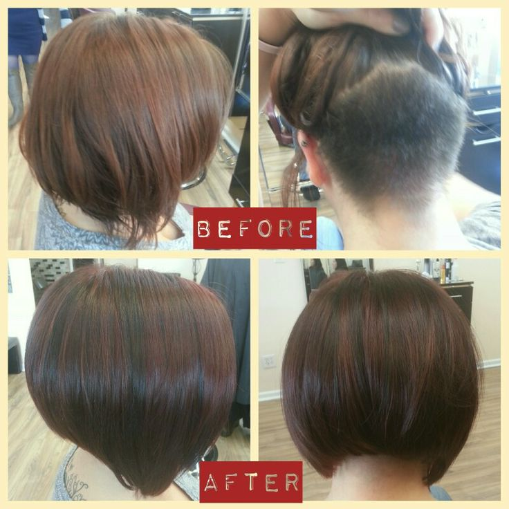 Graduated bob with undercut. Claret wine red with black peek-a-boo's.