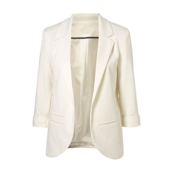 SheIn(sheinside) White Boyfriend Ponte Rolled Sleeves Blazer found on Polyvore featuring outerwear, jackets, blazers, blazer, casacos, sheinside, white, ponte knit jacket, white blazer and boyfriend blazer