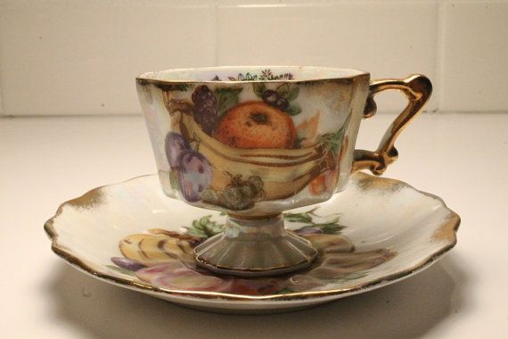 Tea Cup and Saucer Espresso Cup and Saucer by ClockworkRummage, $20.00