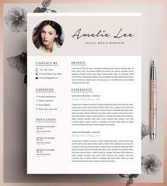 Plantilla de curriculum vitae creativo, plantilla CV, instante descargar, Editable en MS Word y páginas + carta de presentación.