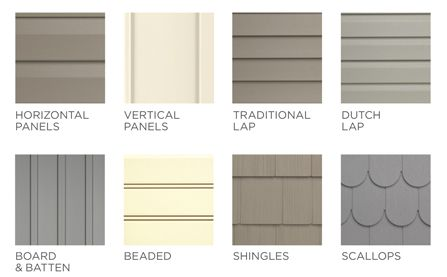 Horizontal panels, Vertical panels, Traditional Lap, Dutch Lap, Board and Batten, Beaded, Shingles, Scallops
