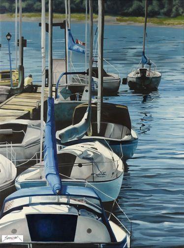 """Boats"" by Sarazen. #art #painting #artwork #canvas #boats #sailboats #sailing #dock #marineart #marine"