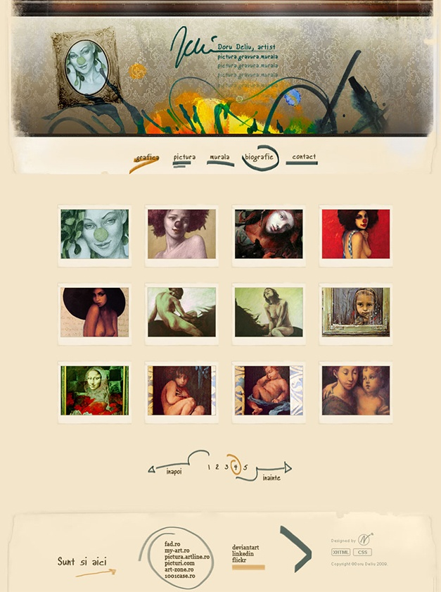 Professional website design and development for Doru Deliu, Romanian artist.