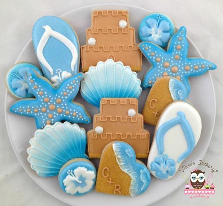 Beach wedding cookies~            By whoos bakery, Brown sand castle, white flip flops, blue starfish,  blue seashell