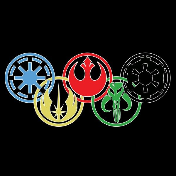 I just love this! Star wars symbols in the Olympic rings, this is my current wallpaper! Left to right Galactic Republic, Jedi Order, Rebelion, Bounty Hunter Crest, Galactic Empire