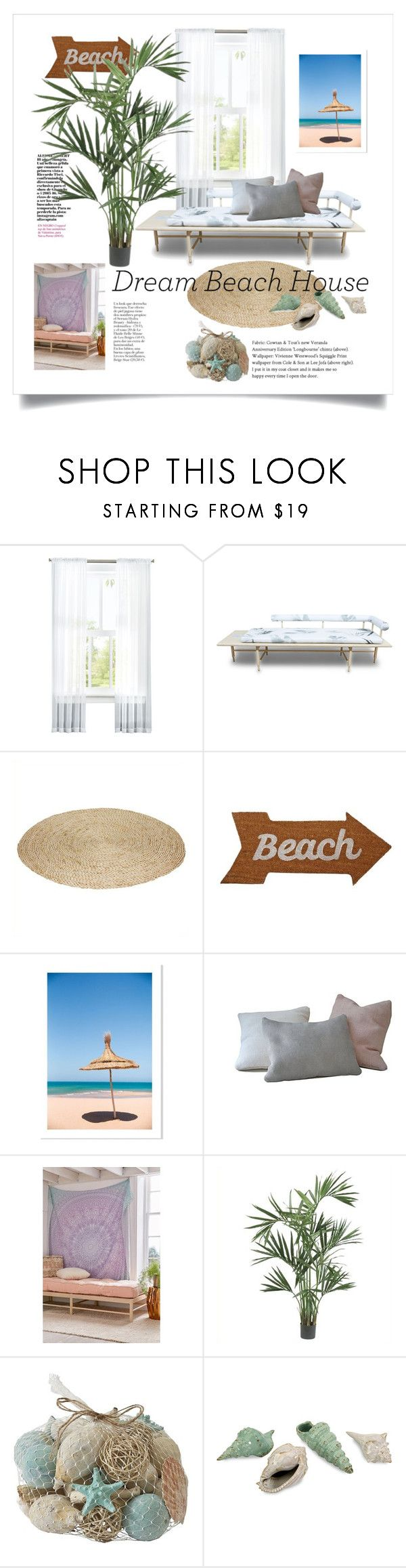 """Dream Beach House"" by lisnahamad ❤ liked on Polyvore featuring interior, interiors, interior design, home, home decor, interior decorating, Volk, Mud Pie, Urban Outfitters and Nearly Natural"