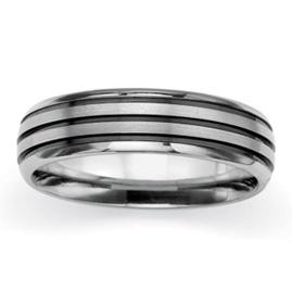 Titanium and Black Ruthenium Finish Polished and Brushed Wedding Band Ring