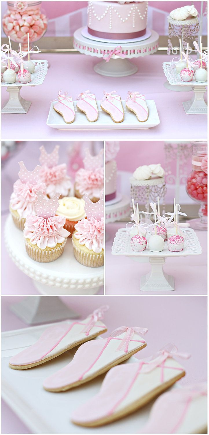 Ballerina Tutu Cupcake Toppers set of 6 for ballet party. $12.00, via Etsy.