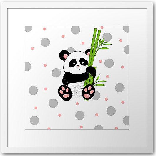 Panda Printout / Wall art nursery Jungle by PocketFulOfPrintouts