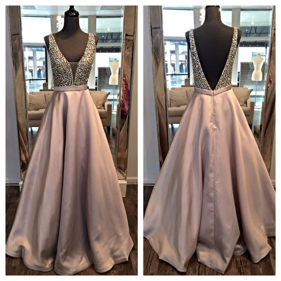 V-neck Long Satin Prom Dresses Backless A-line Floor Length Party Dresses Custom Made Women Dresses