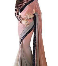 Buy Bollywood Grey embroidered georgette saree with blouse shimmer-saree online