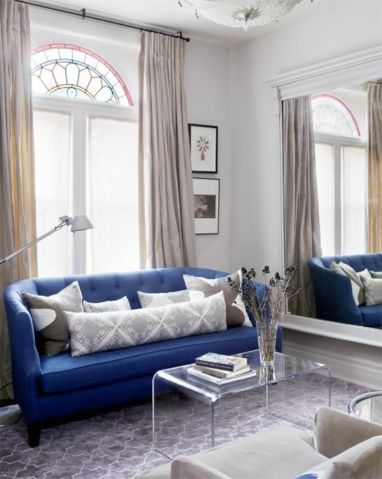 Gray Living Room with Blue Sofa (from Crate & Barrel); Walls are F&B Skimming Stone - by Erin McLaughlin via Style at Home