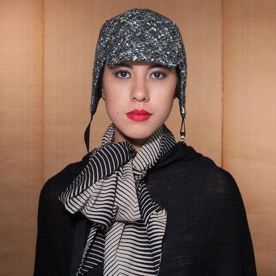 Tweed grigio lana cappello aviatore Cappello di rocksandsalt, $68.00