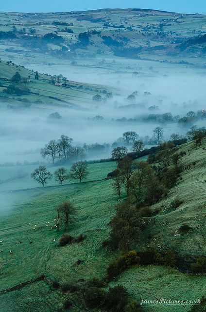 """Lingering fog in High Wheeldon, Derbyshire, England One of these days I'm going to tour """"Jane Austen"""" territory!!"""