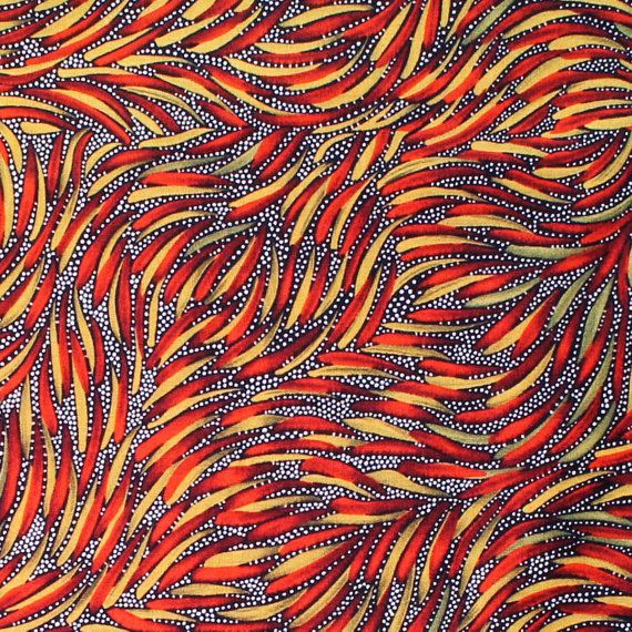 Australian Aboriginal Quilting Fabric Manufactured by M & S Textiles, Australia. Designed by Aboriginal Artist: PITJARA  PALLETTE: Black, Red, Orange, White ~~~~~~~~~~~~~~~~~~~~~~~~~~~~~~~~~~~~~~~~~~~~~~~~~~~~~~~~~~~~~~~~~~~~~~~~~~~ LISTING IS FOR:  ONE Regular 1/4 metre 25cm x 112cm (10 x 44) or ONE FAT QUARTER (FQ) 50cm x 55cm (20 x 22)  Please select either 1/4 metre or FQ from the dropdown box when you purchase.  TO PURCHASE CONTINUOUS METRES/YARDAGE: Buy multiples: 1 = 25cm (1/4 metre)…
