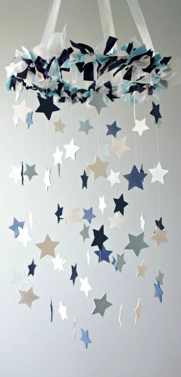 Star Mobile- Blue Nursery Mobile  Use idea to make one of r/w/b for July 4 and hang in front porch????
