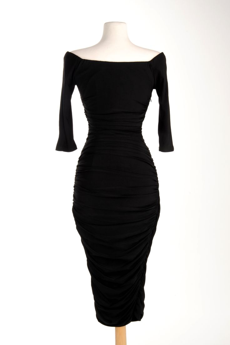 Monica Dress in Black Matte Jersey Knit | Pinup Girl Clothing
